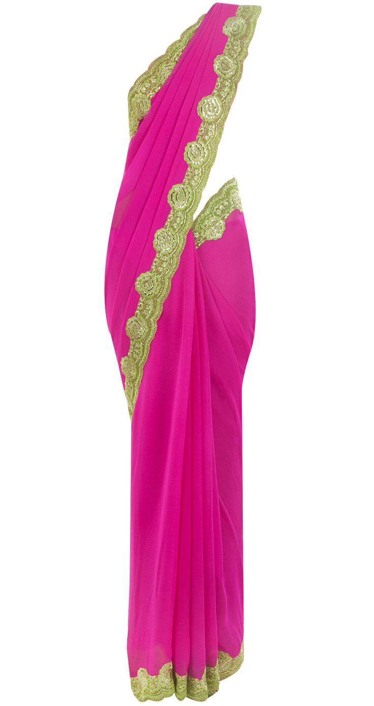Fuchsia pink georgette sari by SUNEET VERMA. Shop at http://www.perniaspopupshop.com/whats-new/suneet-verma-1