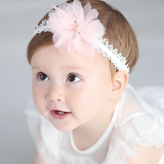 Girls Baby Kids Pearl Lace Headband Ribbon Elastic Headdress Hair Band Bow Gifts