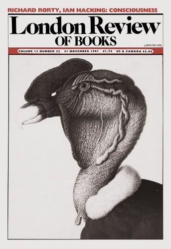 London Review of Books. 21 November 1991. Cover: Nicolas Huet.