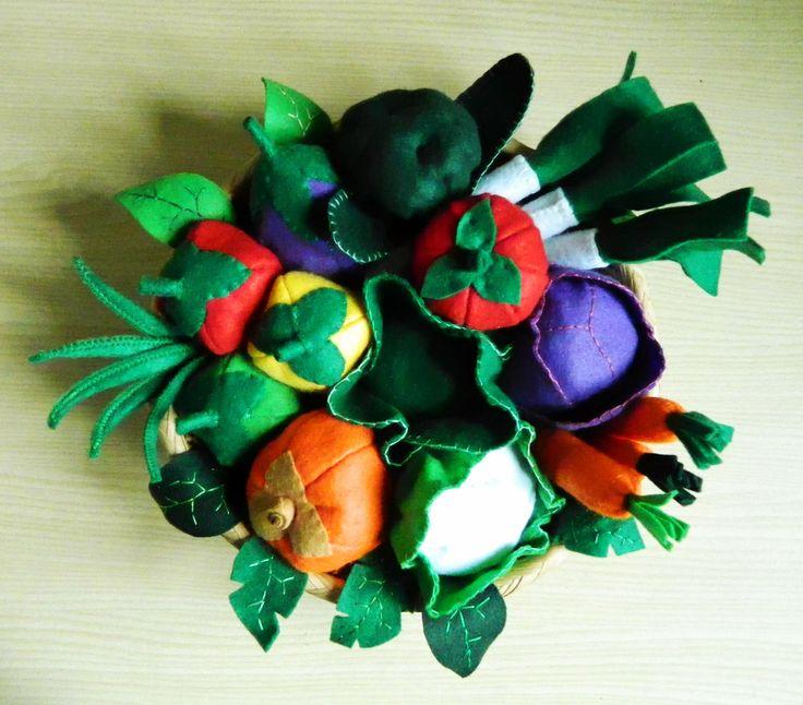 cesto di verdure di feltro felt food vegetables il piccolo popolo di pezza