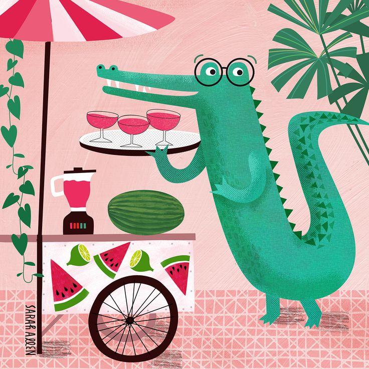 Crocodile margarita illustration | Sarah Allen