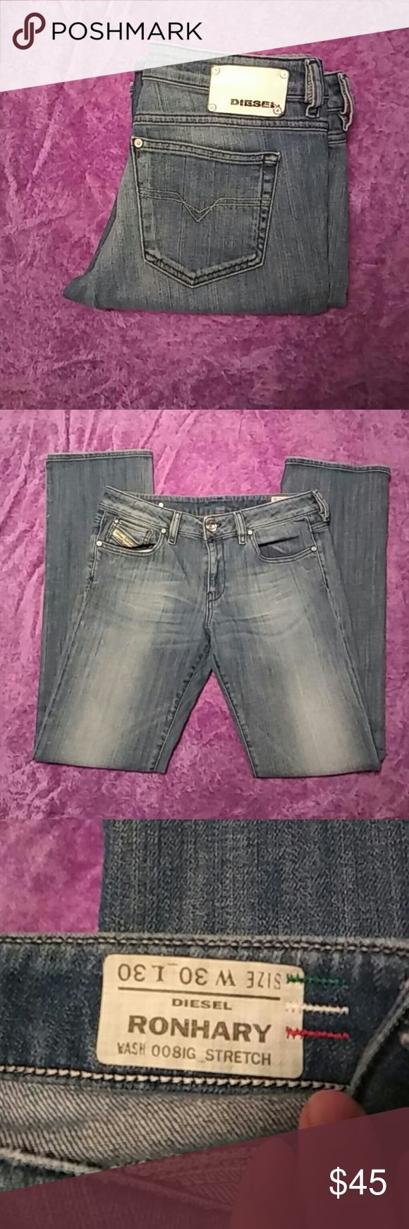 Diesel Ladies Jeans Hardly worn, heels are in great shape. Medium wash with light wash on thighs Very soft Tag says 30W 30L Diesel Jeans Straight Leg