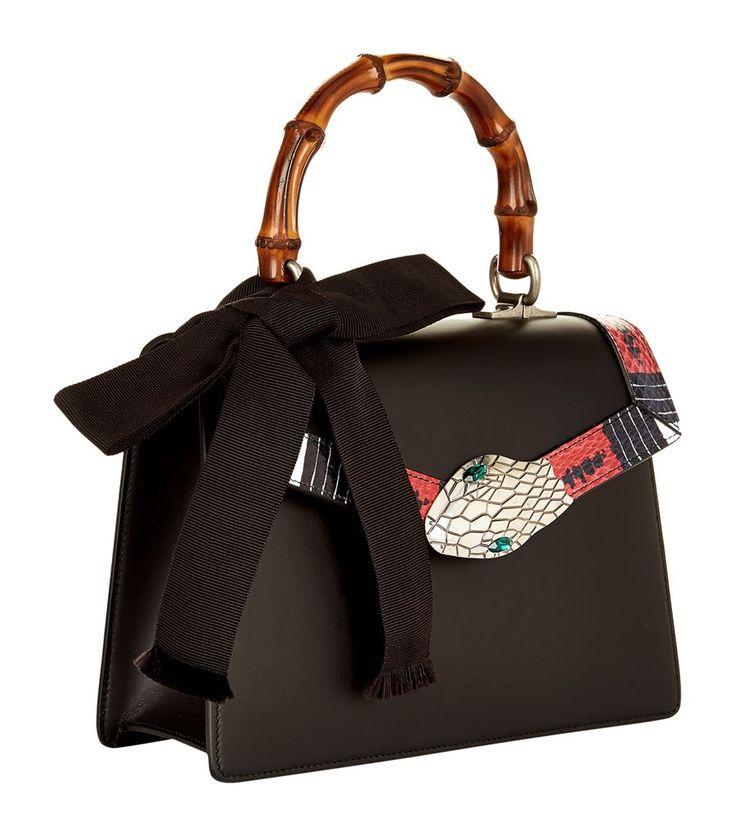 Gucci Small Minerva Bamboo Top Handle Bag Black | Harrods.com