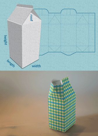 Completely custom sized template for a Milk carton