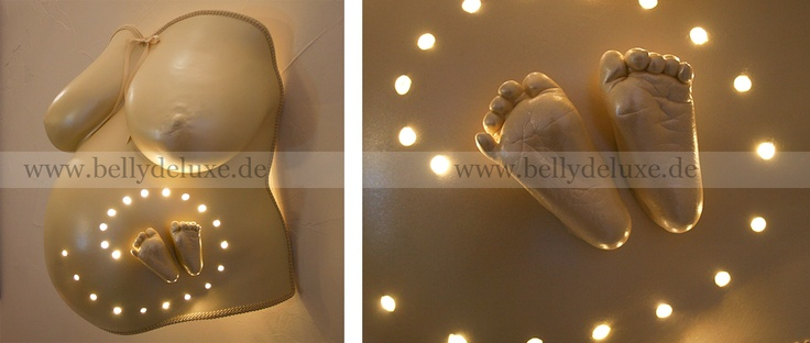 Belly Cast with led lamps and baby feet
