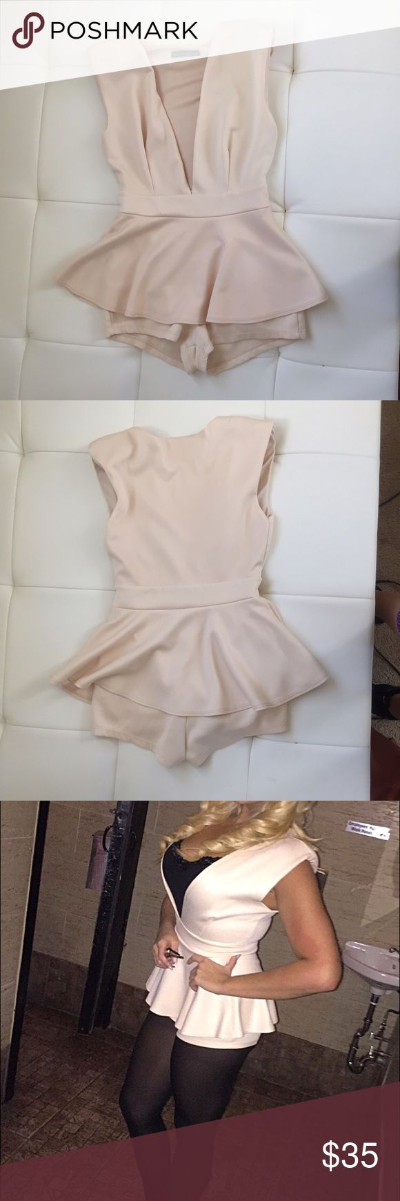 Mystique Boutique NYC light pink romper Verrrrry sexy light pink/beige romper! Worn once to a work Christmas party and never again because of my fear of outfit repeating lol. Mystique Boutique NYC Dresses
