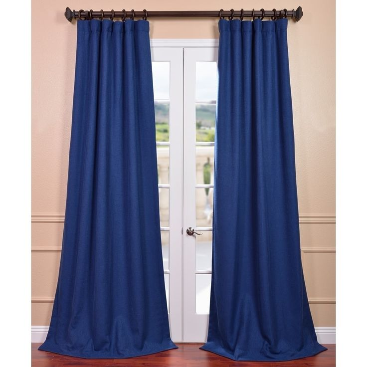 Exclusive Fabrics Royal Blue Linen Curtain Panel By Exclusive Fabrics