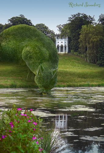 This is real, done by John Brooker, a retiree aged 75 who lives in Norfolk, UK. //Topiary Cat Drinking from a lake | by Rich Saunders: