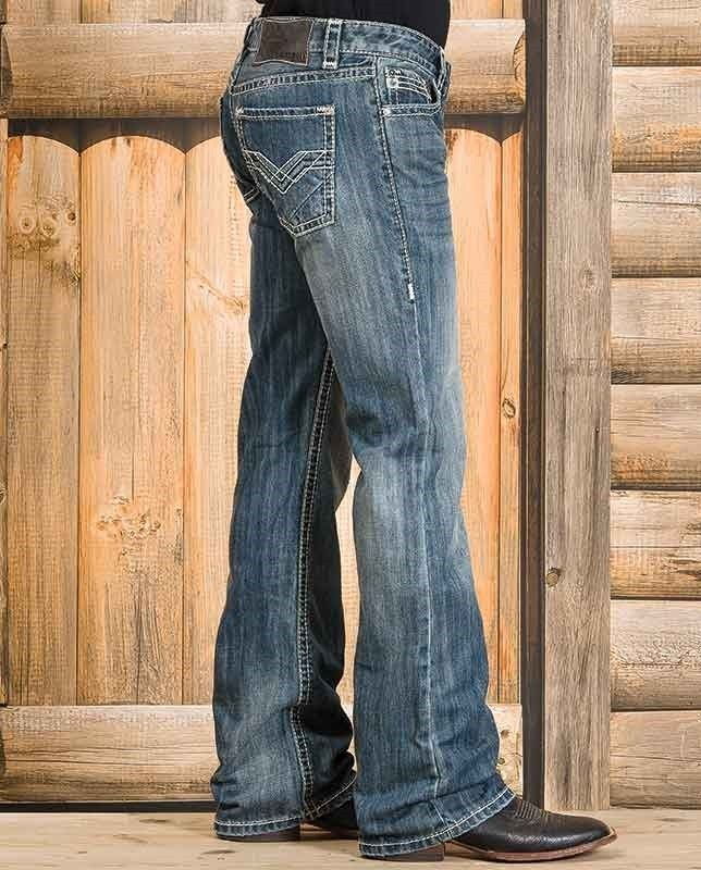 """Rock & Roll Cowboy Men's Medium Wash Pistol Fit Vintage Boot Cut Jeans - These jeans feature a medium stone wash styled with fading and whisker detailing. They offer a regular fit at the seat and thighs, a boot cut leg and contrast stitching. """"gifts for cowboys"""" """"gifts for men"""" drysdales.com western menswear for cowboys"""