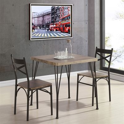 Worldwide Home Furnishings 207-183RK-3PK 3-Piece Industrial Dining Table Set