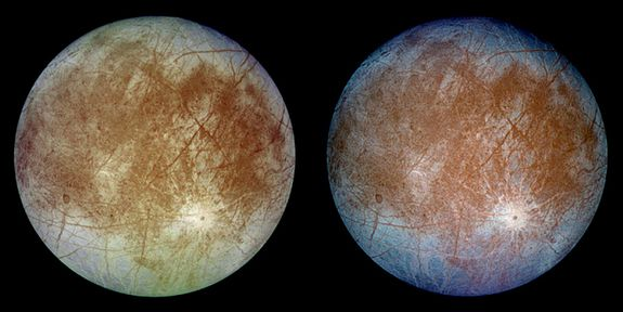 Europa, taken by the Galileo spacecraft. One of Jupiter's more than 60 moons.