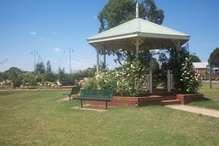 This gorgeous rose covered gazebo is at the incredibly beautiful Morwell Centenary Rose Garden in Australia