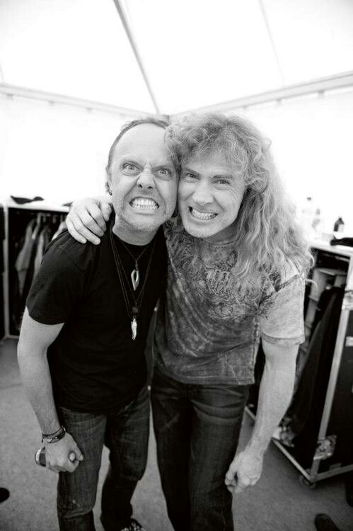 "LARS ULRICH of Metallica and DAVE MUSTAINE of Megadeth, posing together on a pre-show  ""The World's No:1 Online Heavy Metal T-Shirt Store"". Check it out NOW; www.HeavyMetalTshirts.net"