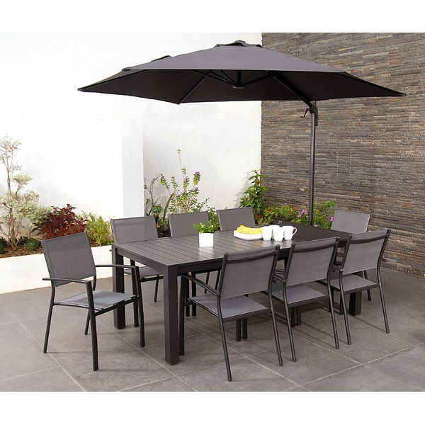 This incredible value set comes with eight stunning armchairs, and even a huge cantilever parasol to offer respite from the afternoon drizzle or blistering heat (if you're lucky!). This entire set has been carefully engineered with mother nature in mind. This eight seater dining set is made fromhigh quality aluminium which has been heat treated and electrostatically coated in a beautiful charcoal colour. The table is made with aluminium slats to give you a designer look in a material tha...