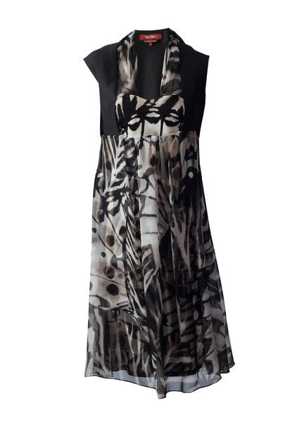 Max Mara Studio Black Patterned Cocktail Dress with Zebra Inspired Chiffon #LoveThatCloset #Designer #Consignment #Sale #Dress #MaxMara