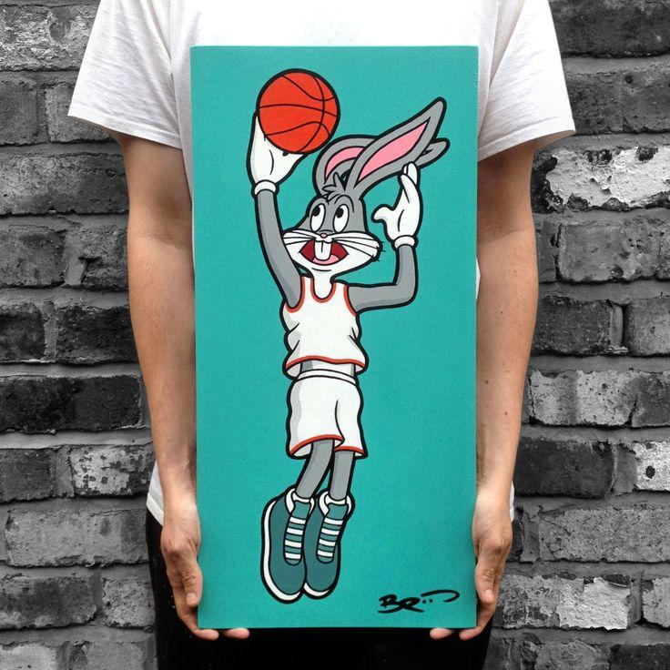 #broos #broosart #bugs #bunny #looney #tunes #acrylic #painting #original #basketball #space #jam #baller