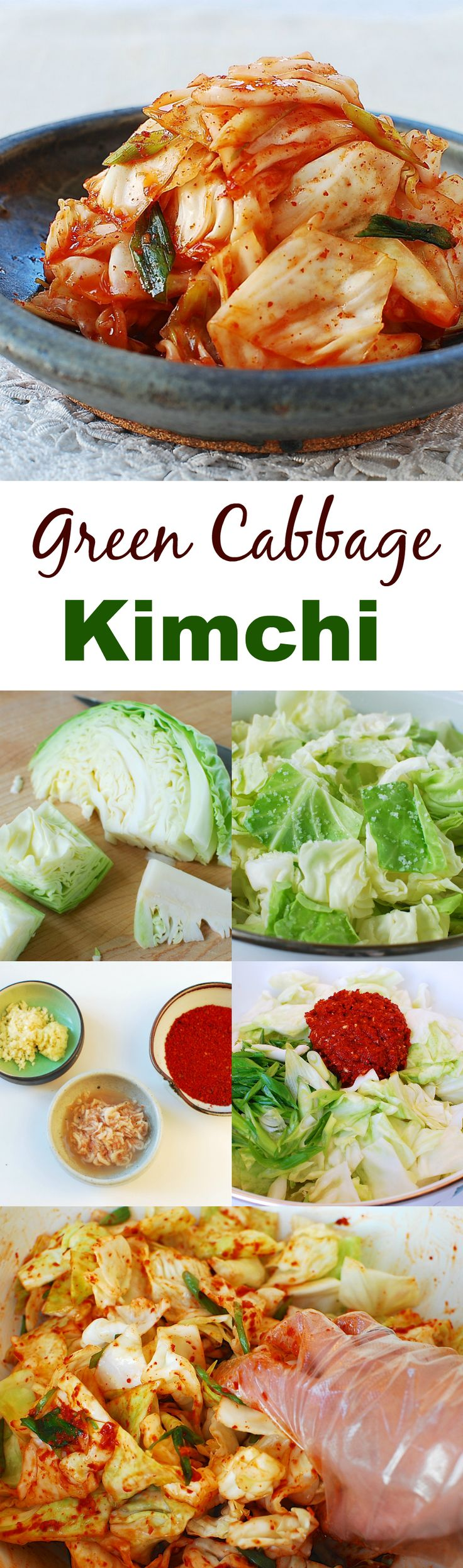 Yangbaechu kimchi - Easy kimchi made with green cabbage!