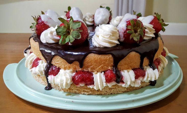 Kage, Jordbær, Chokolade, Fløde, Søde, Smag