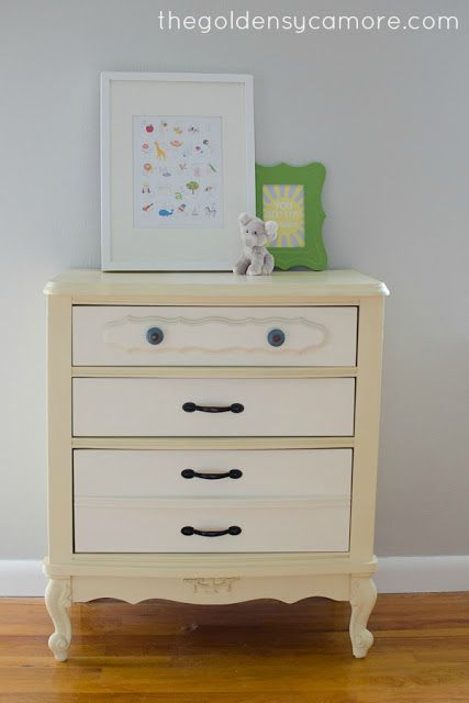 Cream Nightstand ... and My First Time Using a Stencil - The Golden Sycamore