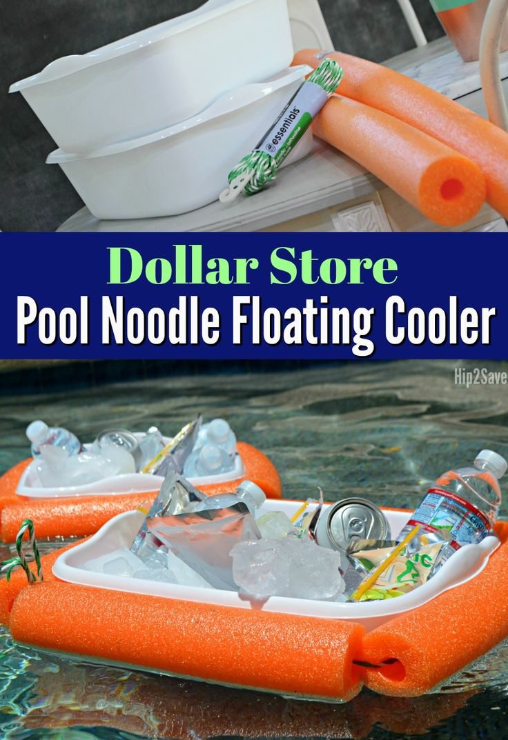 Here's how to easily make a floating pool cooler using a dish pan and a pool noodle! Such a creative dollar store craft!