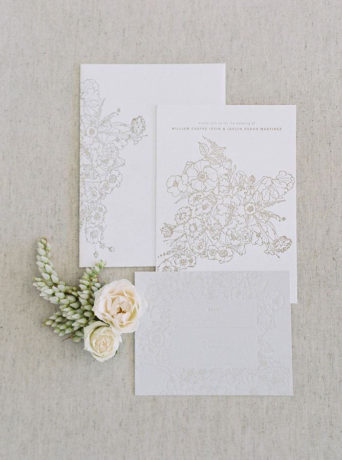 how to emboss wedding invitations diy%0A Simplistic Springtime Wedding Inspiration at Sunrise  Photography  Maria  Lamb   Styling  u     Floral Design    Embossed Wedding InvitationsFloral