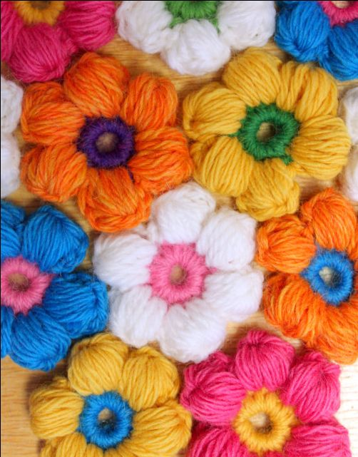 Crochet 6 Petal Puff Stitch Flower