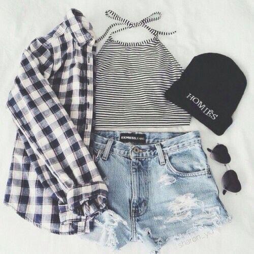 Teen fashion. Highwaisted jean shorts. Halter top