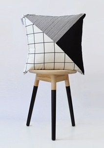Monochrome geometric cushion cover
