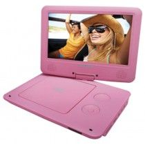 $49 - Sylvania 9-Inch Swivel Screen Portable DVD/CD/MP3 Player with 5 Hour Built-In Rechargeable Battery, USB/SD Card Reader, AC/DC Adapter, Pink