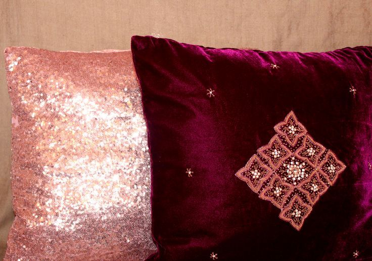 Fuschia pink Luxury Velvet Solitaire paired up with Rose Pink Sequins Lush Cushions  www.sidrealhome.co.uk.