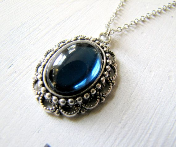 Blue Victorian Necklace by TwigsAndLace