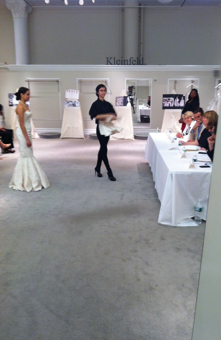 Presenting my Bridal Gown to the judging panel: Mara Urshel, Co-Owner Kleinfeld Bridal, Robert diMauro, High School of Fashion Indusrties Board Member, Henry Roth, Designer for Henry Roth & Michelle Roth, Kristen O' Gorman, Online Editor for Bridal Guide Magazine, Sandra Manning, High School of Fashion Industries, Dorothy Silver, Director of Merchansing, Kleinfeld. Special thanks to Madeline Gardener who provided and assist us with the fabrics.