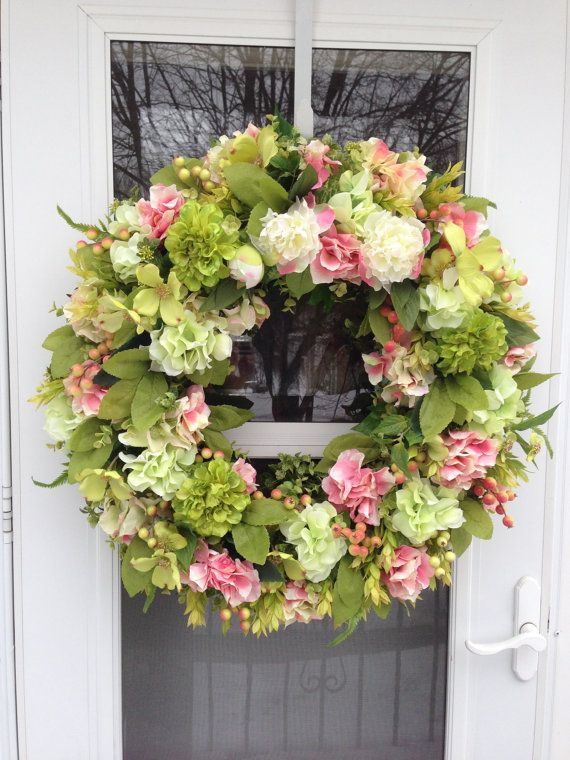 Pink Peony with Green Hydrangea & Zinnia Spring Wreath on Etsy, $169.00
