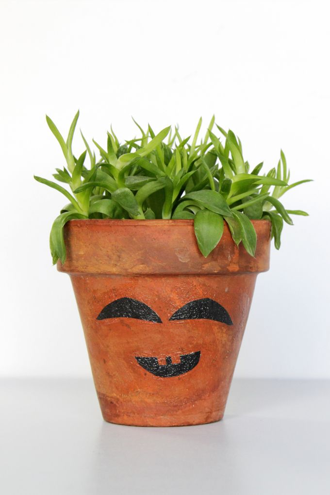 Clay pot craft funny face planter mod podge rocks halloween halloweendecor