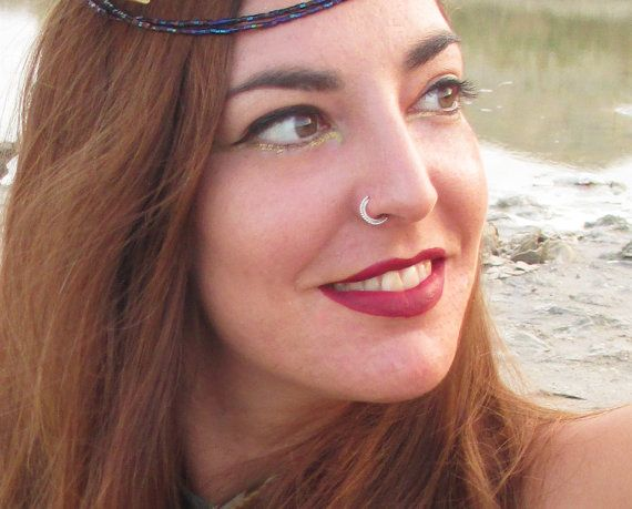 Indian nose ring Silver nose ring Gypsy by ShirazelohevJewelry