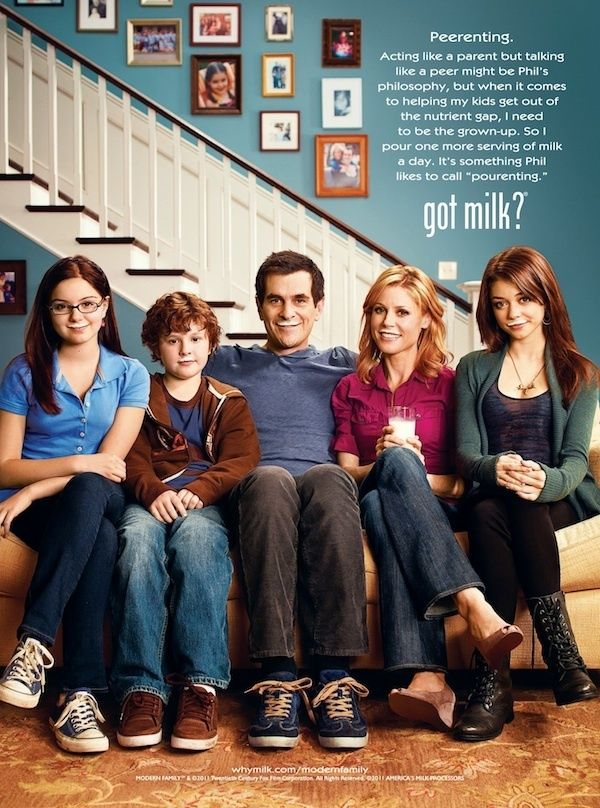 The Dunphys from Modern Family, dad Phil and mom Claire know the importance of serving milk daily to their kids Haley, Alex and Luke. Description from dailystab.com. I searched for this on bing.com/images