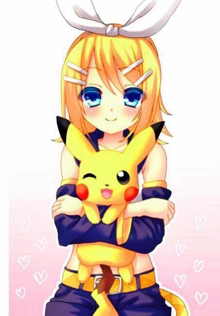 Rin Kagamine and Pikachu