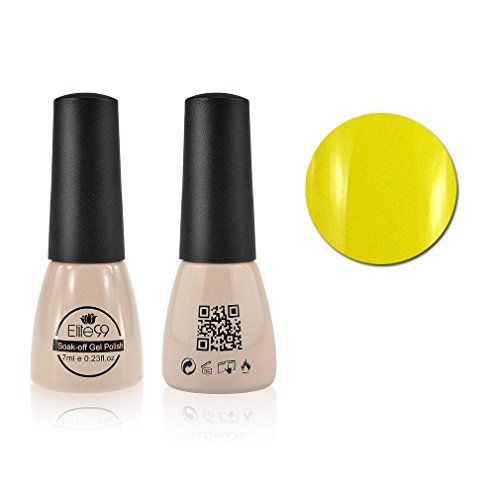 Qimisi SoakOff UV LED Gel Polish Nail Art New Bling Colours Manicure Lacquer 7ml Yellow -- Click image for more details.Note:It is affiliate link to Amazon.
