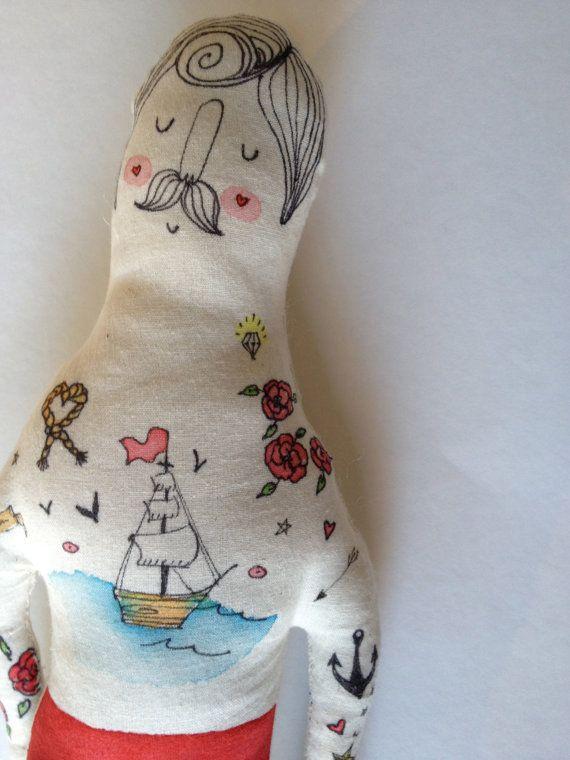 Large Handmade Art Doll Sailor Nautical by BlueRaspberryDesigns
