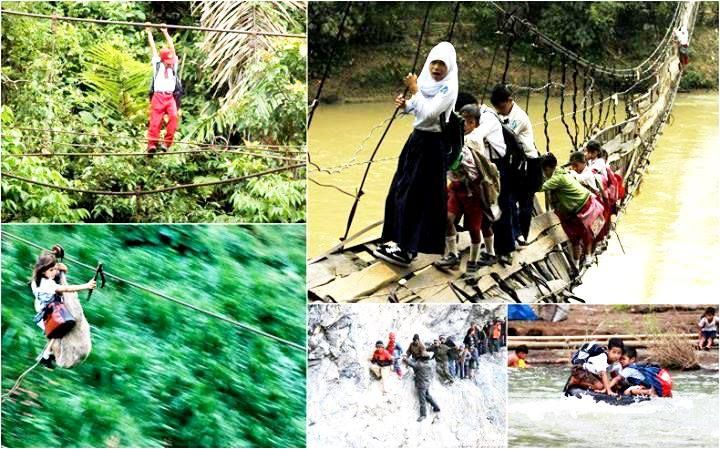 Children risking their lives going to school