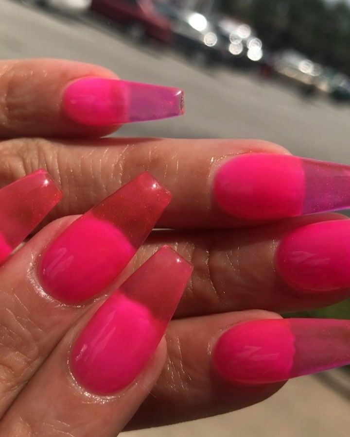 Jelly Nails Using Sugarandcream Sugarandcream Sugarandcream Gel Tint Top Coat Hot Pink How To Recreate A Pink Acrylic Nails Jelly Nails Pink Clear Nails