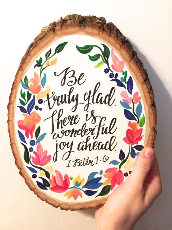 Inspirational Bible Verse Wood Slice 1 by HaleyMillerPaintings