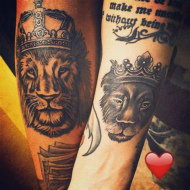 Lion & Lioness Tattoos with Crowns