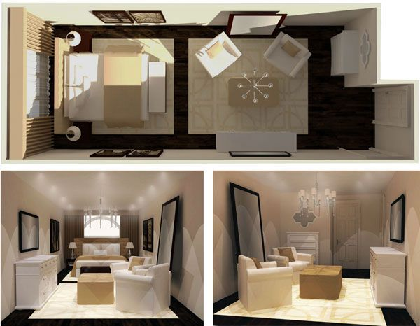 a long and narrow bedroom can be a decorating challenge but we found the perfect inspiration a chic urban hotel room from the floorplan to the
