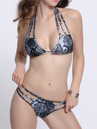 Women Sexy Strappy Halter Bikini Snake Printing Wireless Hollow Out Beachwear Sets at Banggood