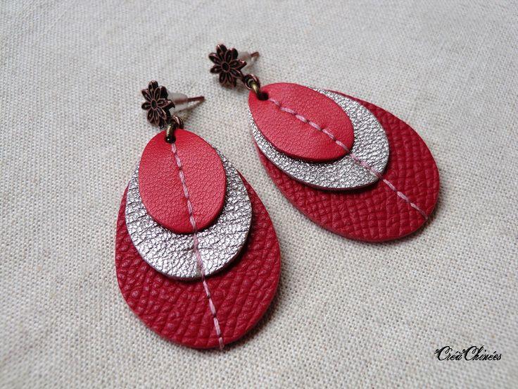 Boucles d'oreilles trio de cuir, Pili, modèle unique fait main création bijou par Bassoey
