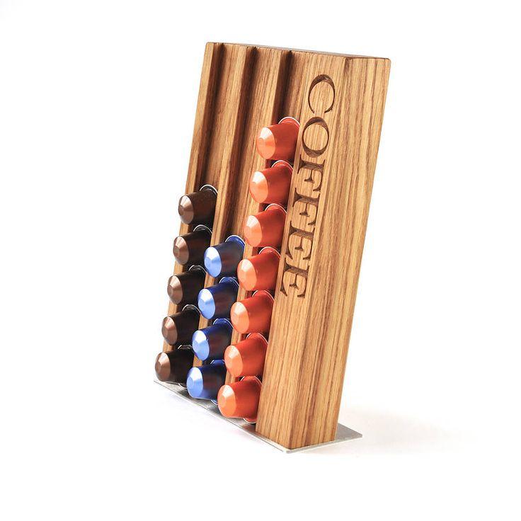 Personalised Oak Coffee Pod Rack
