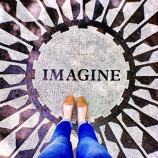 John Lennon IMAGINE mosaic in Strawberry Fields section of Central Park, NY