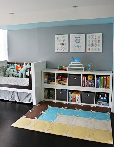 I love the #storage they've set up in this room. #modern #toddler