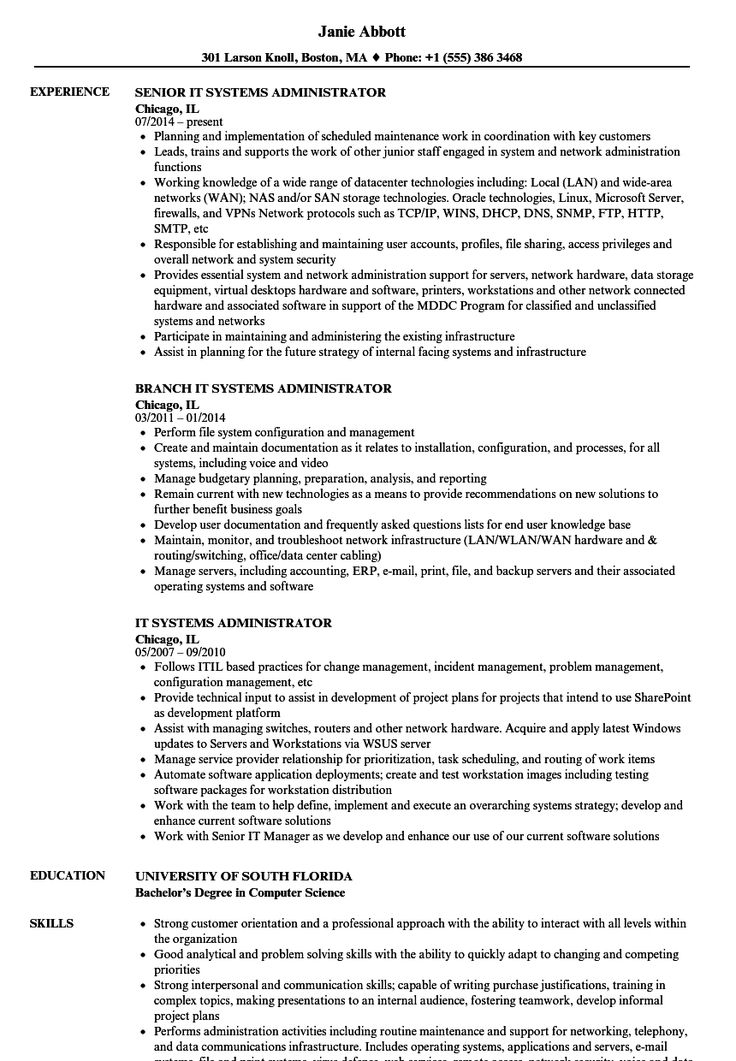 Systems Administrator Resume Template in 2020 Logistics